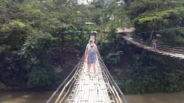 käisime miskitel bambussiladel ka kõõlumas. väga turvaline, aga samas häirivalt õõtsuv, minu jalge all ka ragisev.